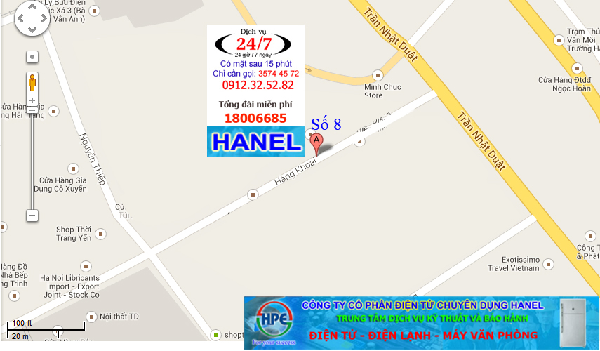 Liên hệ chi nhánh Hanel số 8 Phố Hàng Khoai Hà Nội