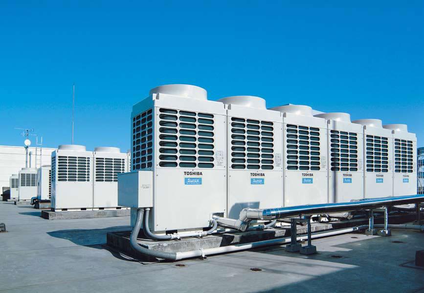 hình ảnh sửa chữa và bảo dưỡng giàn máy điều hòa trung tâm toshiba ở khu công nghiệp