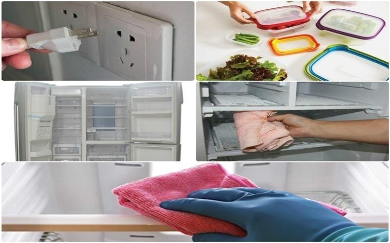 rút phích cắm trước khi làm sạch mùi tủ lạnh